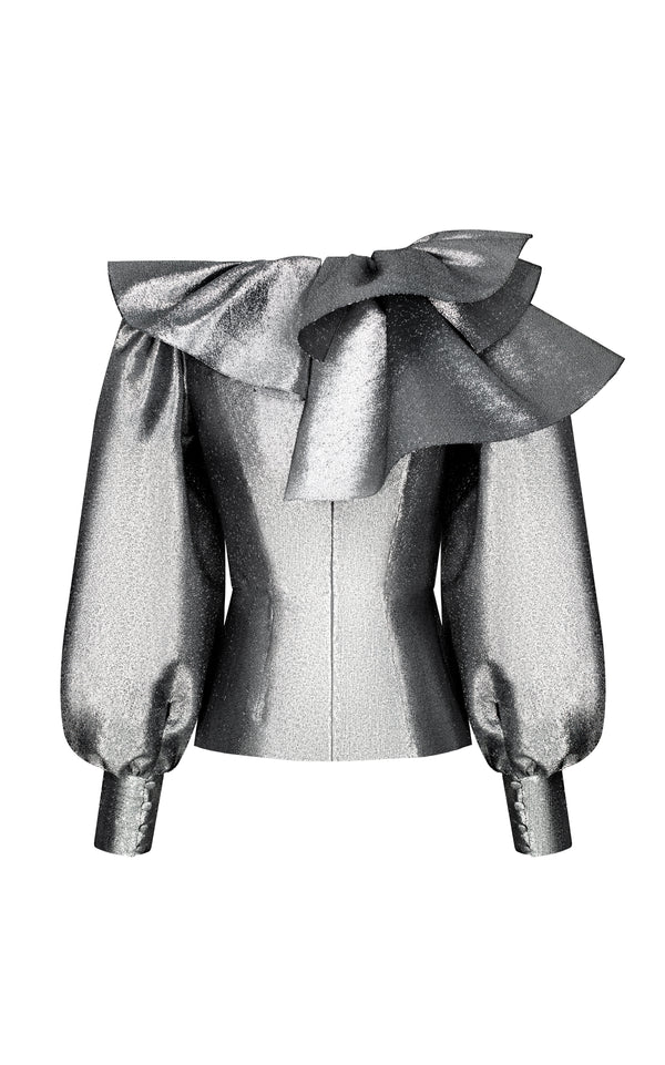 Metallic blouse with ruffles and voluminous sleeves