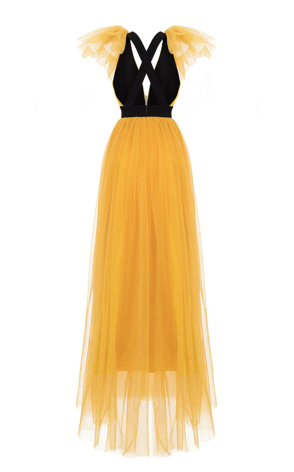 YELLOW GOWN WITH A WHITE FLOWER AND RUFFLED SHOULDERS