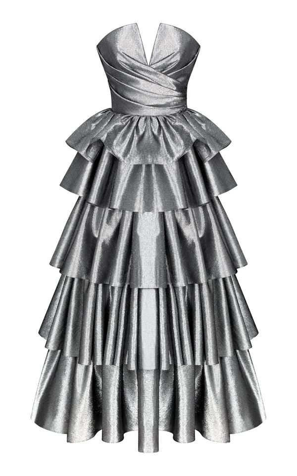 Metallic draped corset gown with ruffled voluminous skirt