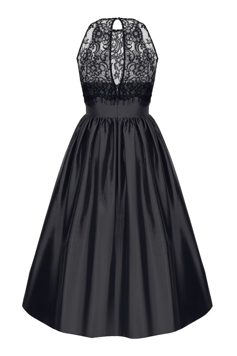 SILK AND LACE MIDI DRESS WITH VOLUMINOUS SKIRT