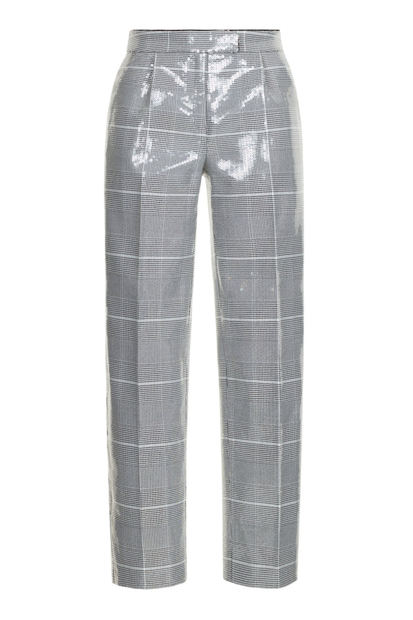 SEQUIN-EMBELLISHED PLAID TROUSERS