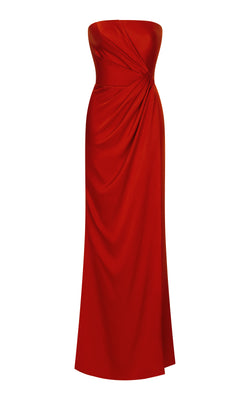 Asymmetric draped satin corset gown