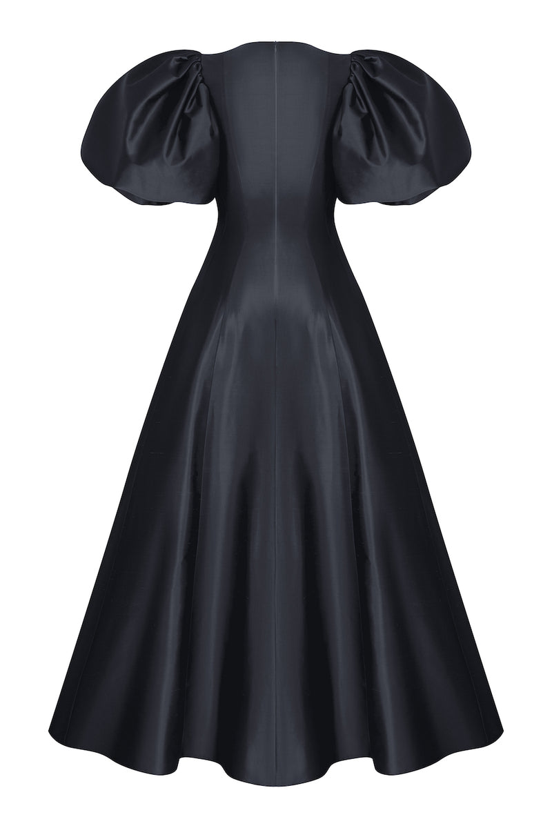 PUFF SLEEVE SILK GOWN WITH VOLUMINOUS SKIRT
