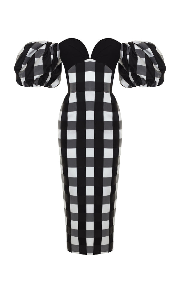 PUFF SLEEVE CHECKED SATIN CORSET MIDI DRESS