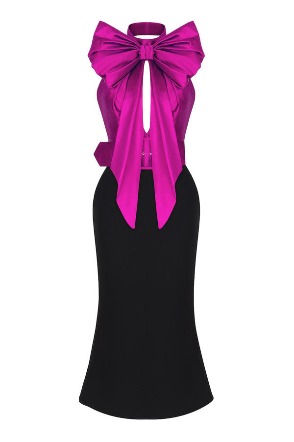 BOW-EMBELLISHED SILK AND CREPE MIDI DRESS