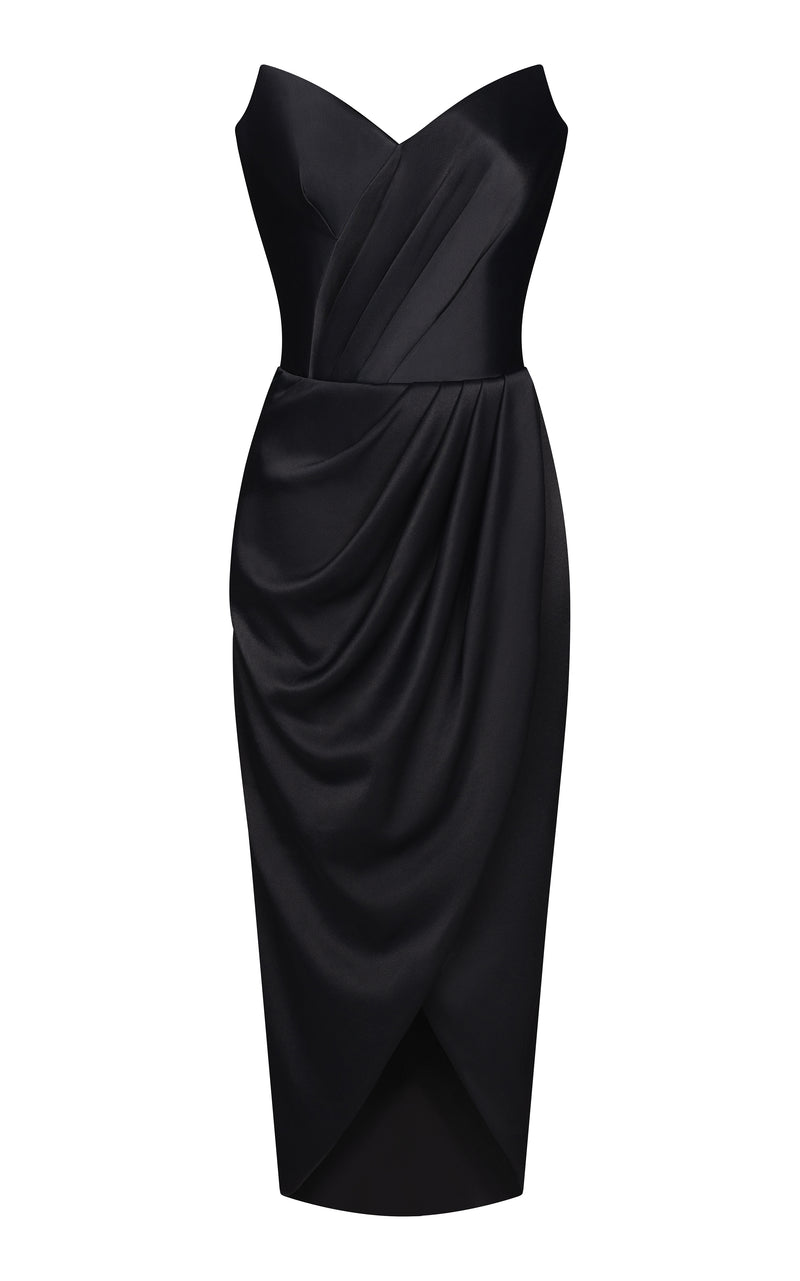 Draped satin corset midi dress