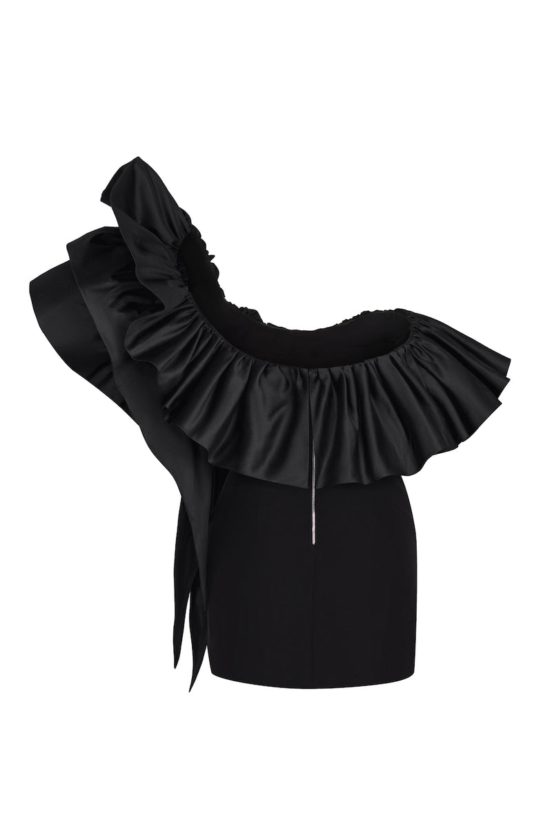 RUFFLED SILK AND CREPE CORSET MINI DRESS