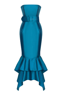 RUFFLED SILK CORSET GOWN