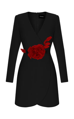 CREPE DRESS WITH RED FLOWER