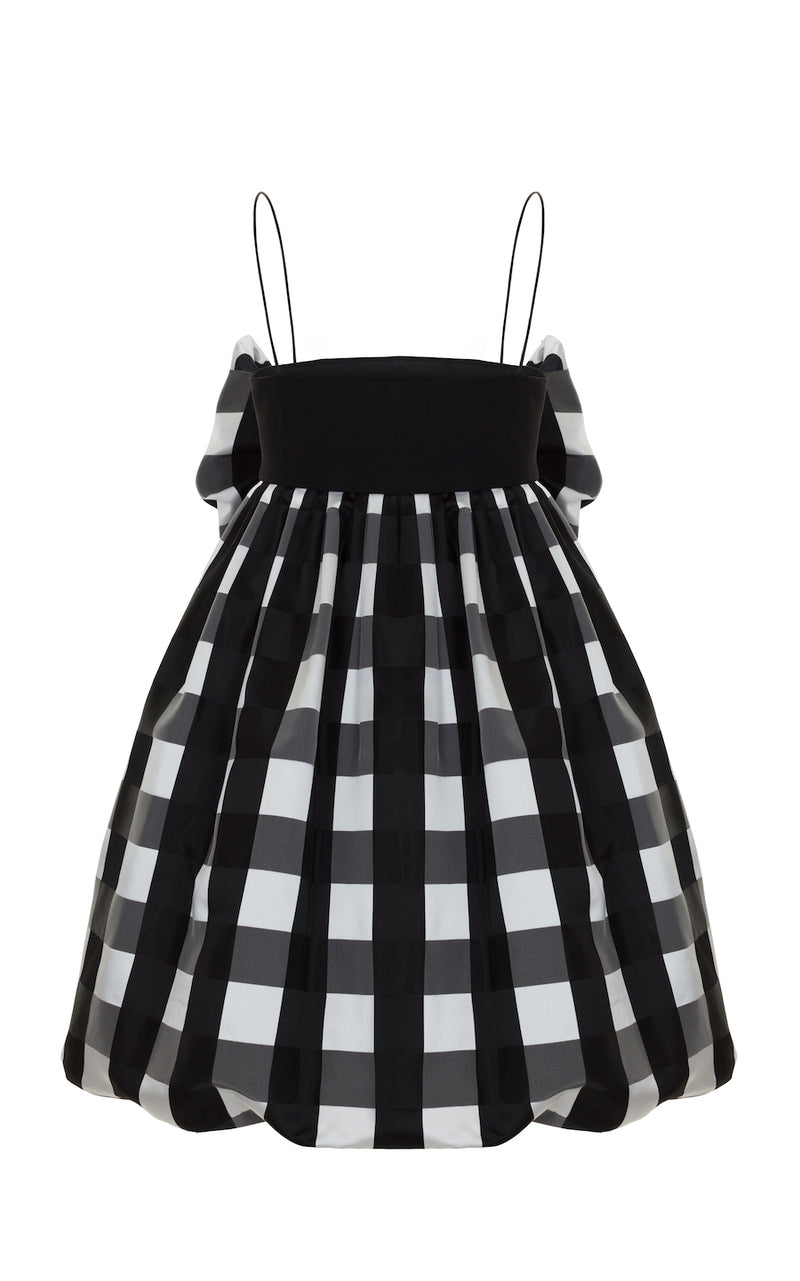 BOW-EMBELLISHED CHECKED SATIN BALLOON MINI-DRESS
