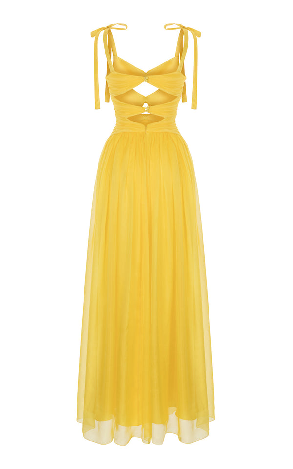TRIPLE BOW SILK-CHIFFON GOWN