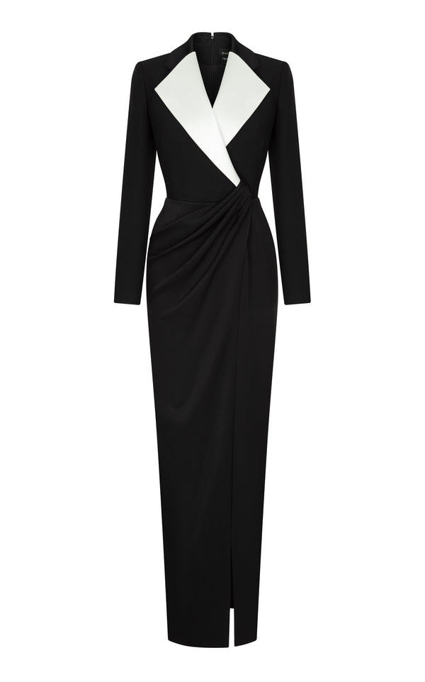 Crepe jacket-dress with satin lapels and draped skirt