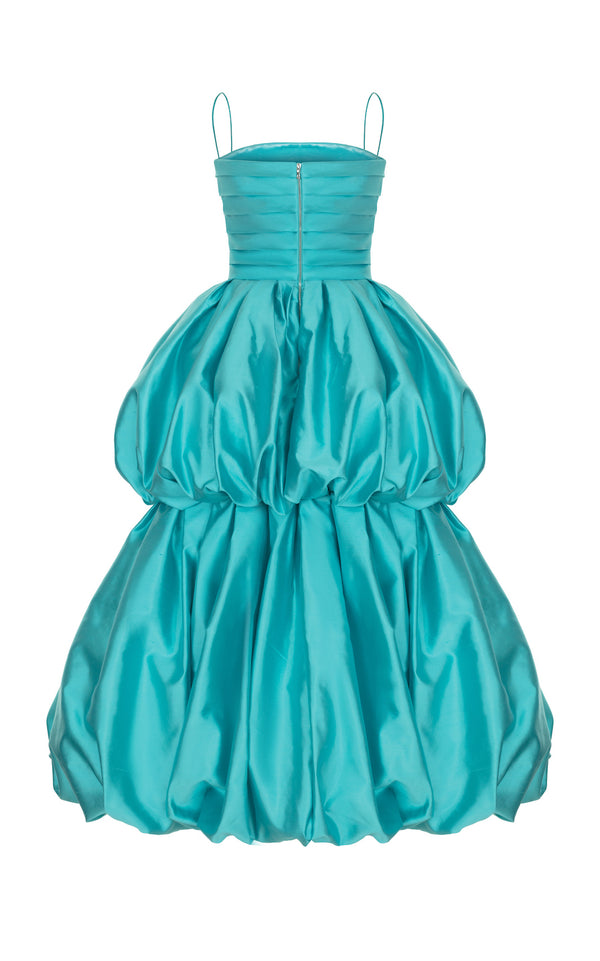 SILK BALLOON CORSET MIDI DRESS