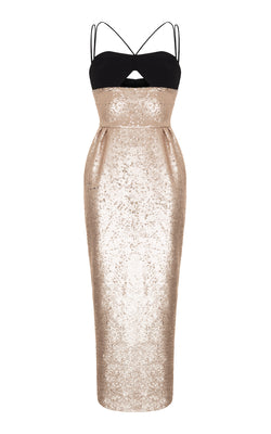 SEQUIN DRESS WITH CREPE TOP