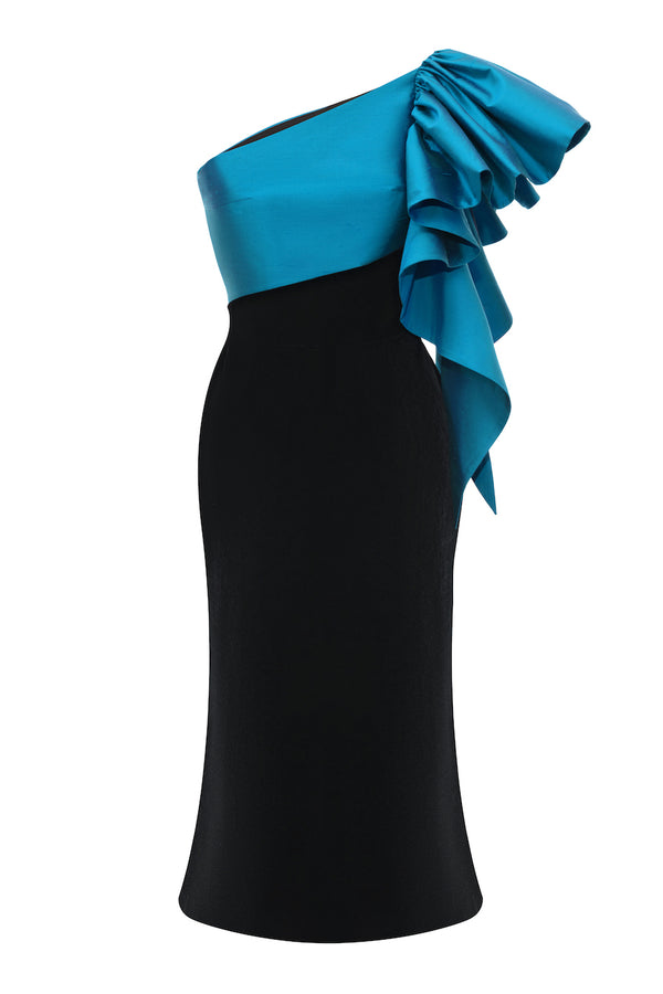 SILK VELVET MIDI DRESS WITH SILK RUFFLE