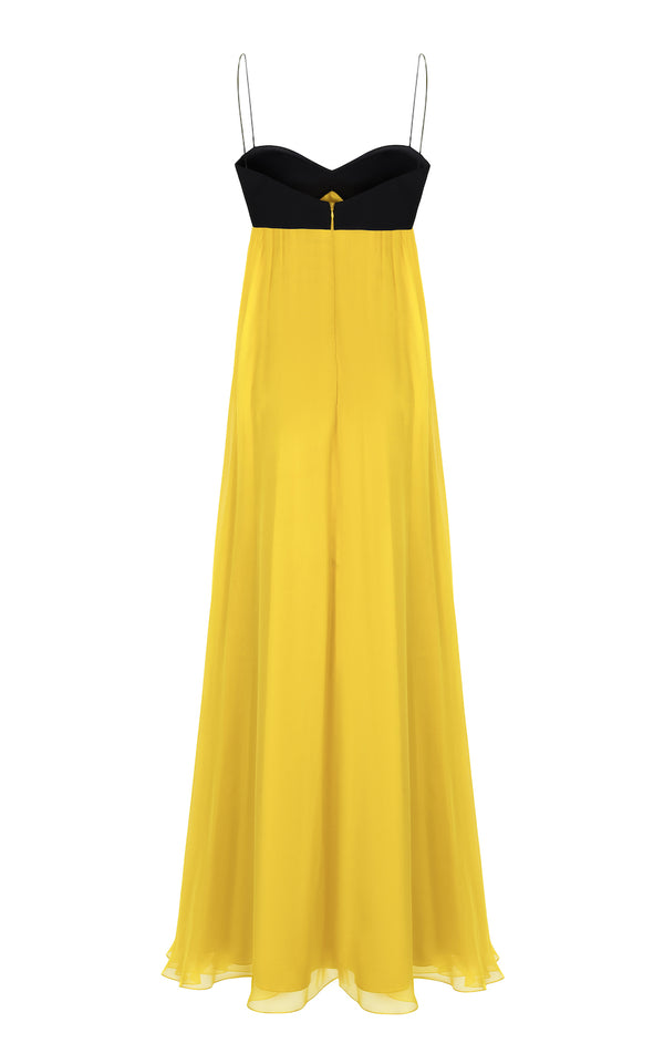 SILK-CHIFFON AND CREPE BUSTIER TOP GOWN