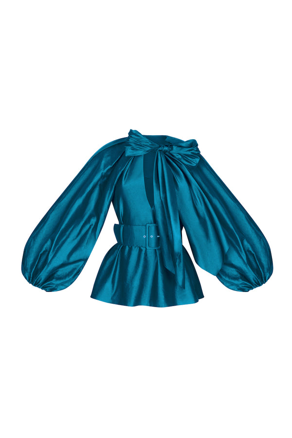 VOLUMINOUS SLEEVE BOW-EMBELLISHED BLOUSE