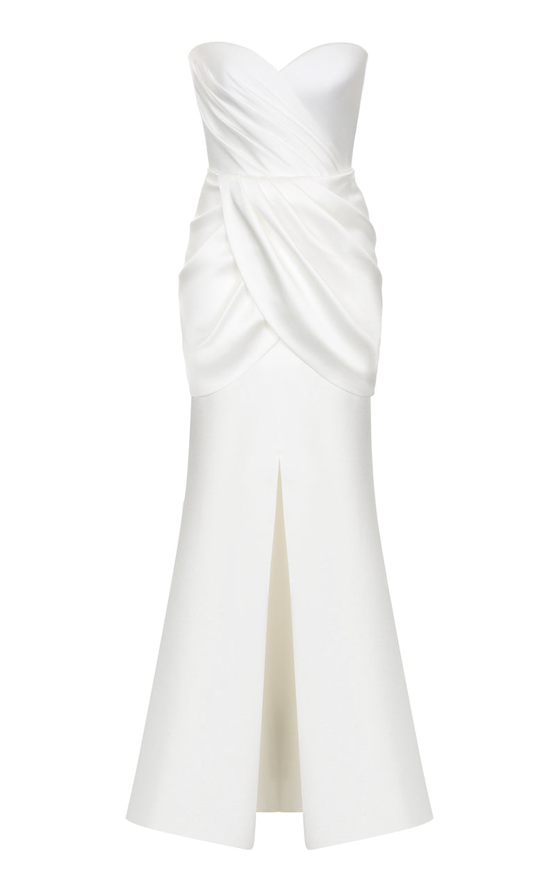 DRAPPED SATIN CORSET GOWN