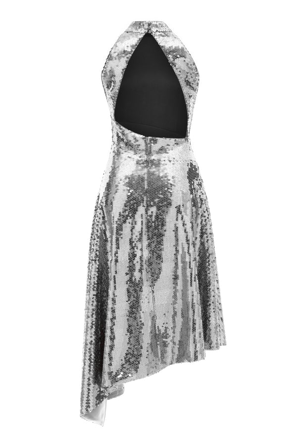 ASYMMETRIC SEQUINED MIDI DRESS