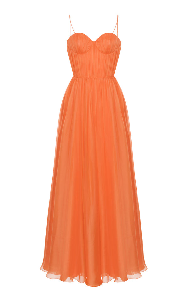 DRAPED SILK-CHIFFON SWEETHEART GOWN