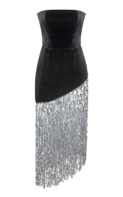 SEQUIN FRINGE AND VELVET CORSET MIDI-DRESS