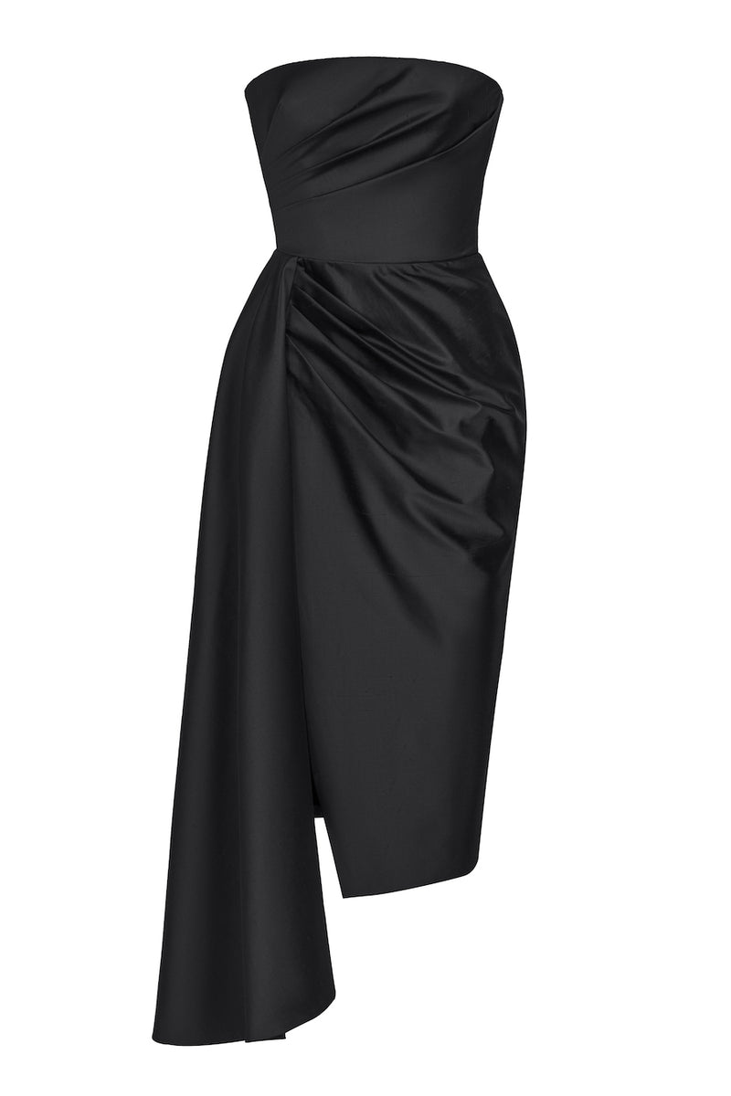 ASYMMETRIC DRAPED SILK CORSET MIDI DRESS