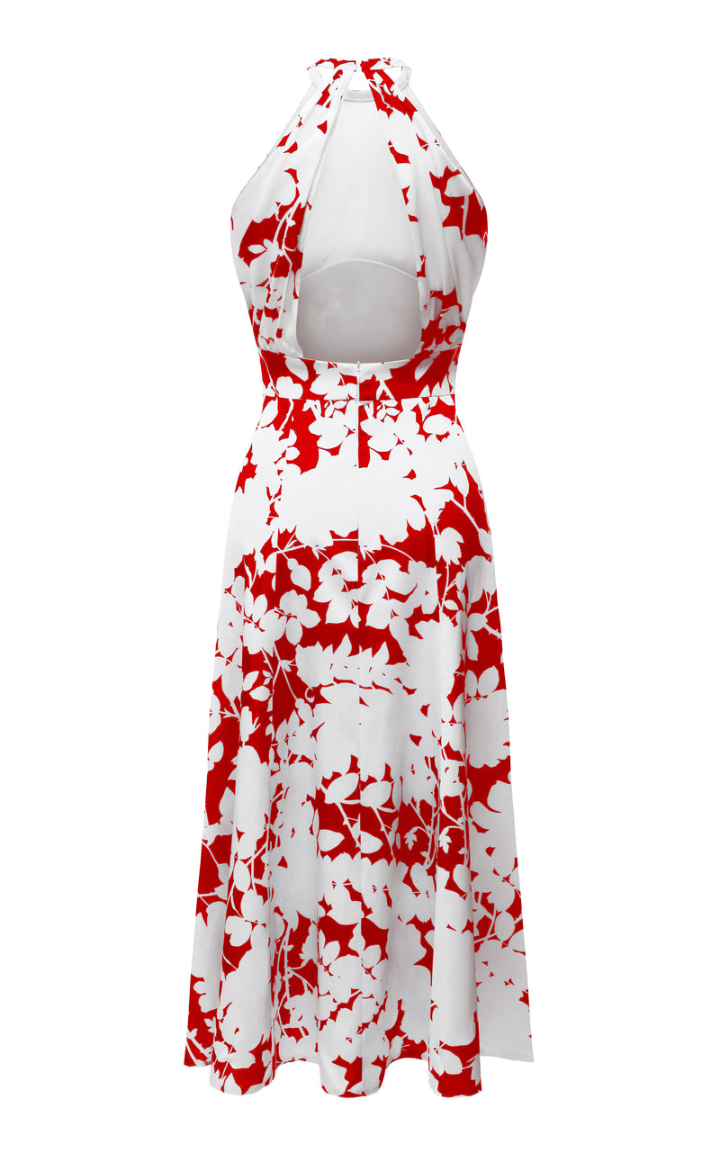 FLORAL-PRINT SATIN HALTER MIDI DRESS