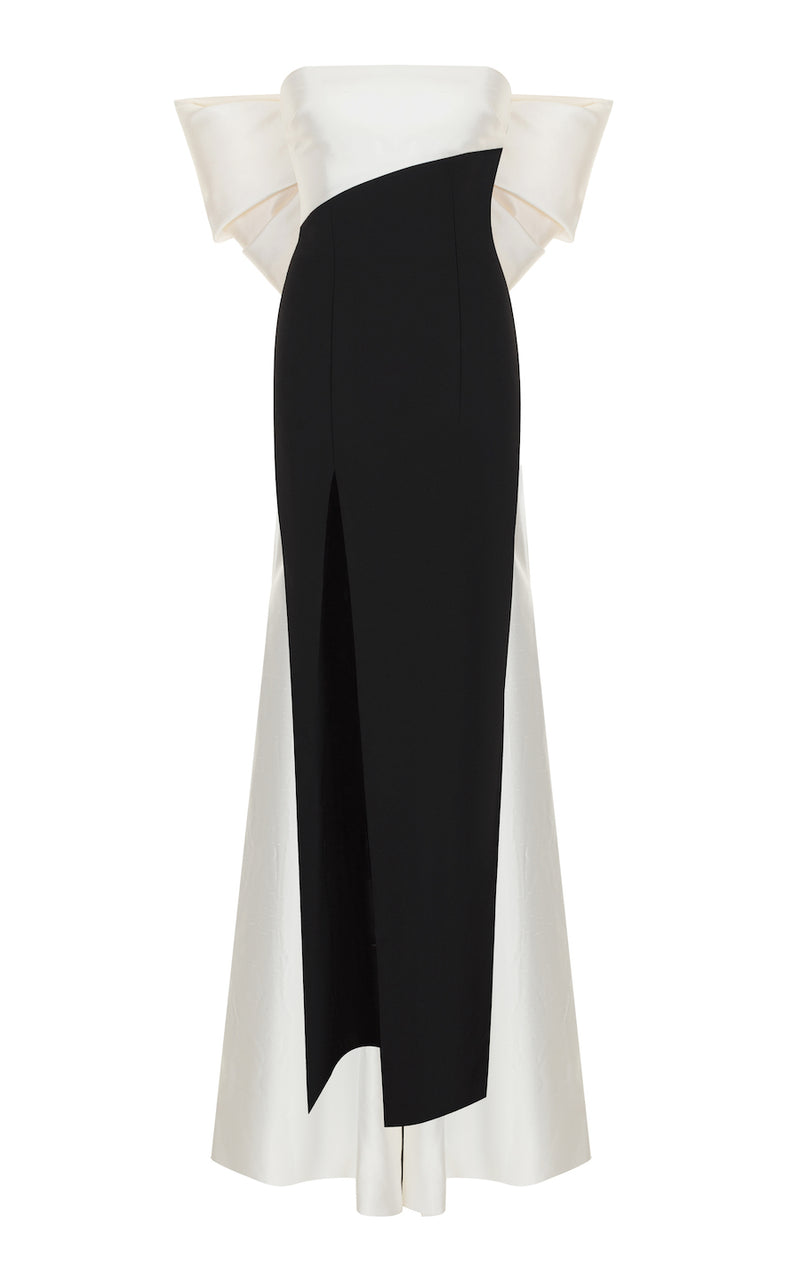BOW-EMBELLISHED STRAPLESS SILK AND CREPE CORSET GOWN