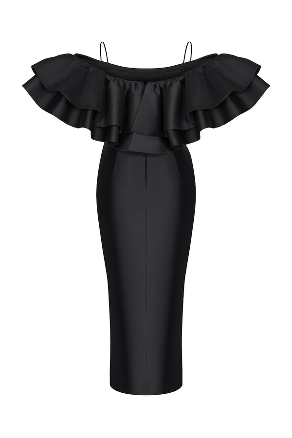 OFF-THE-SHOULDER RUFFLED SILK CORSET MIDI DRESS