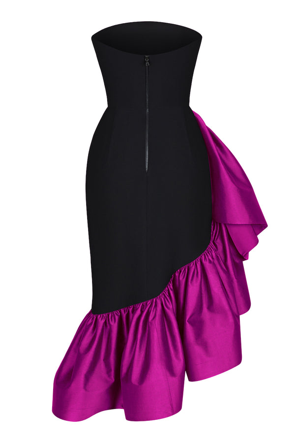 RUFFLED SILK AND CREPE CORSET MIDI DRESS