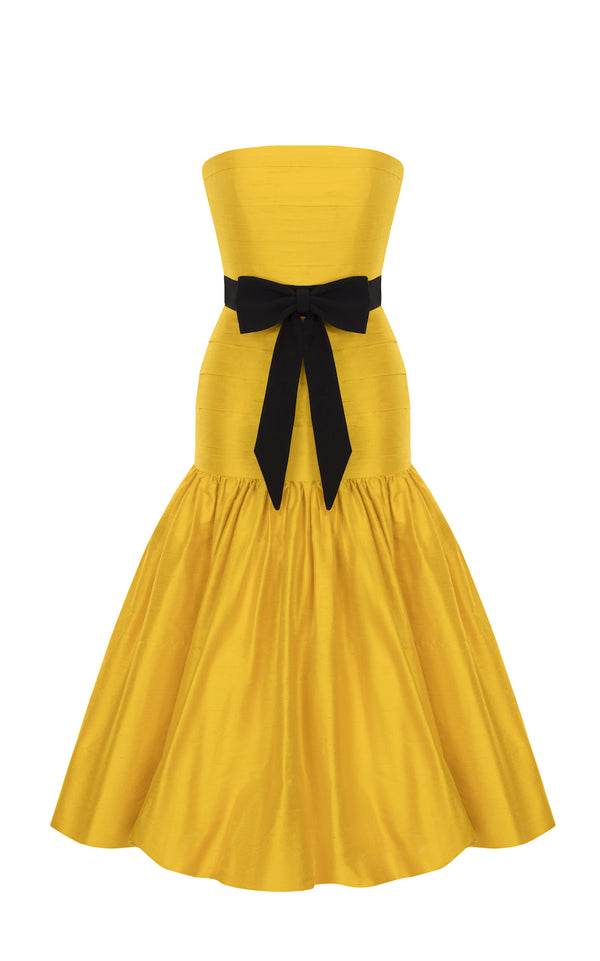 SILK BALLON CORSET MIDI DRESS
