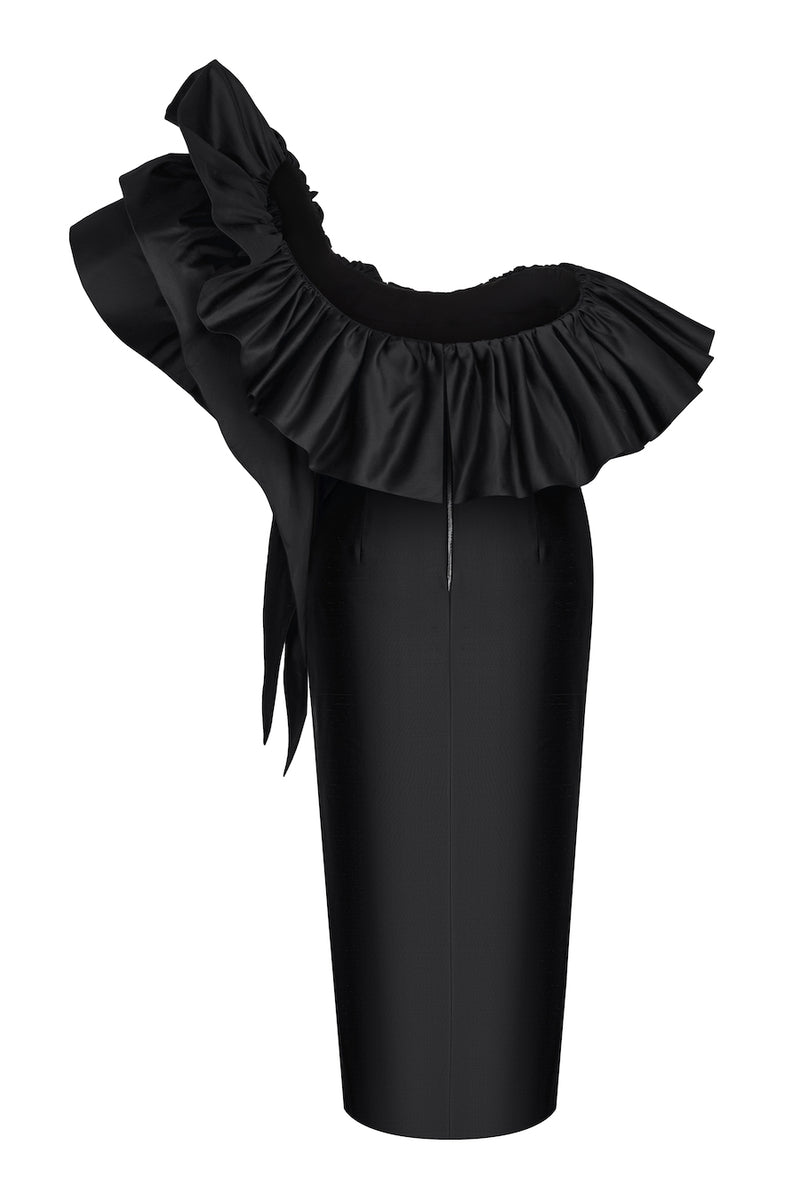 RUFFLED SILK CORSET MIDI DRESS