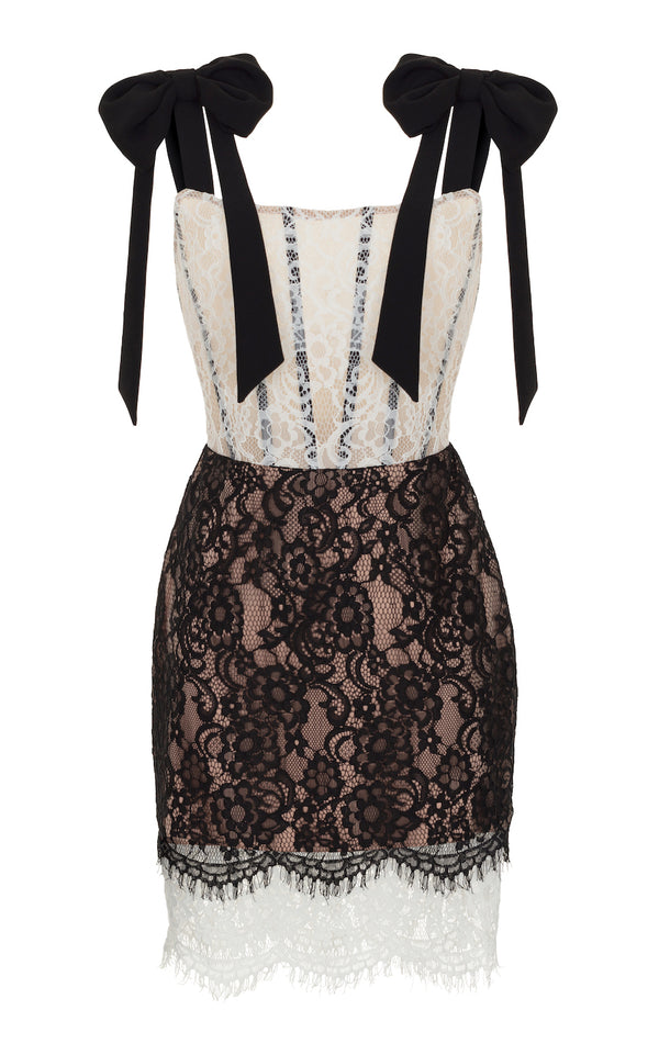 BOW-EMBELLISHED LACE AND CREPE MINI DRESS