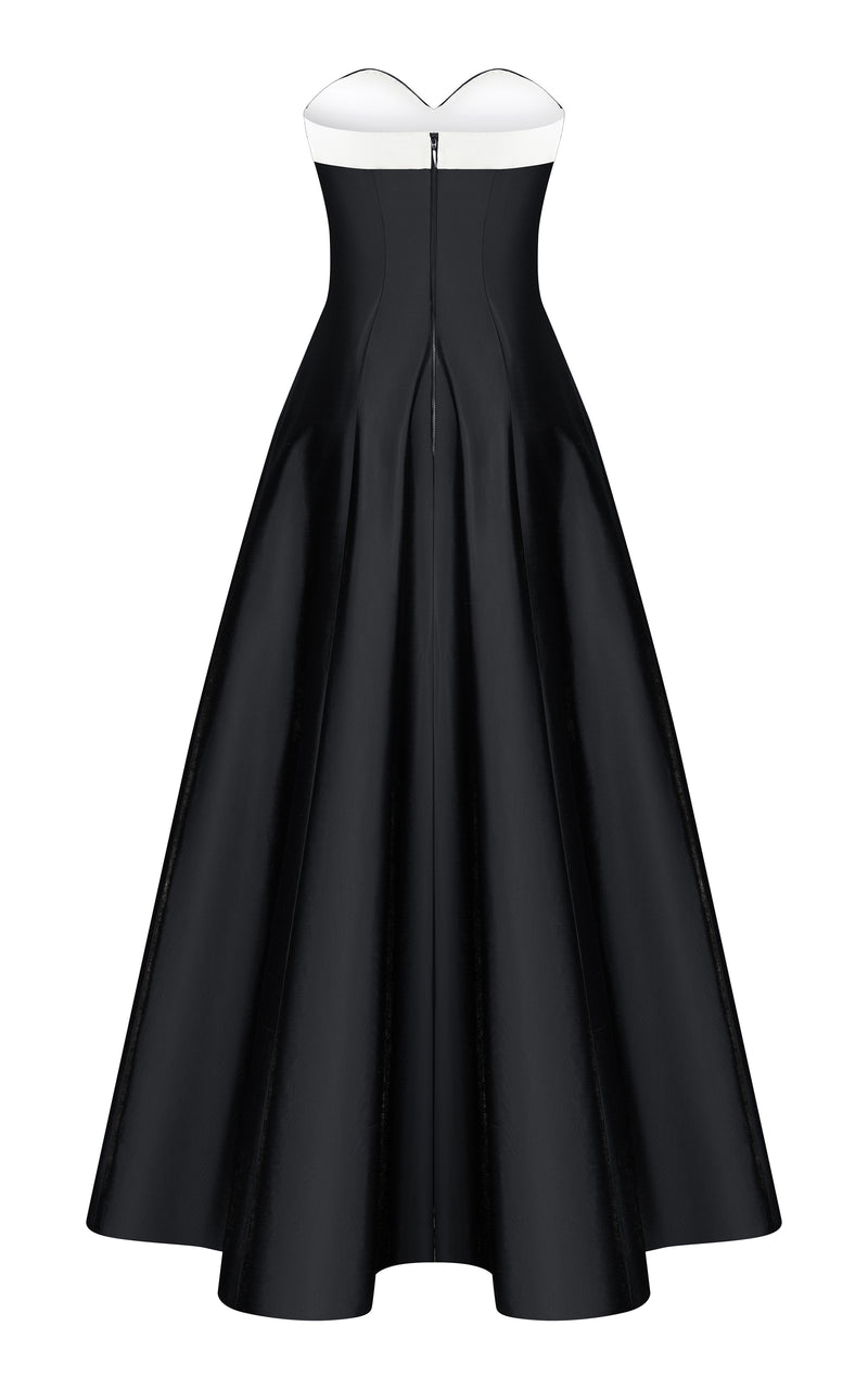 BOW-EMBELLISHED SILK CORSET GOWN
