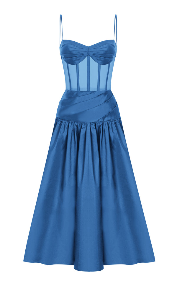 SILK CORSET MIDI DRESS WITH VOLUMINOUS SKIRT