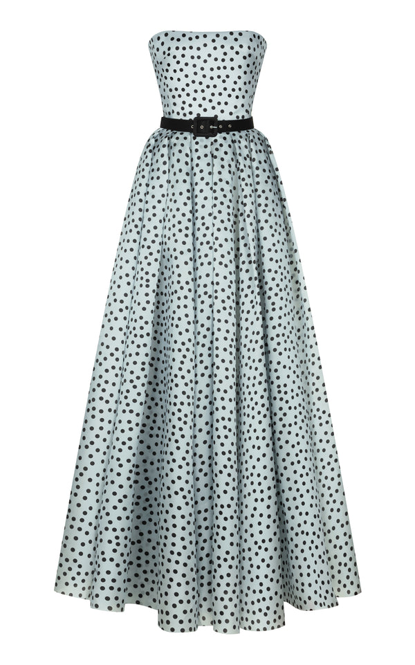 Polka-dot silk organza corset maxi dress with voluminous skirt and belt
