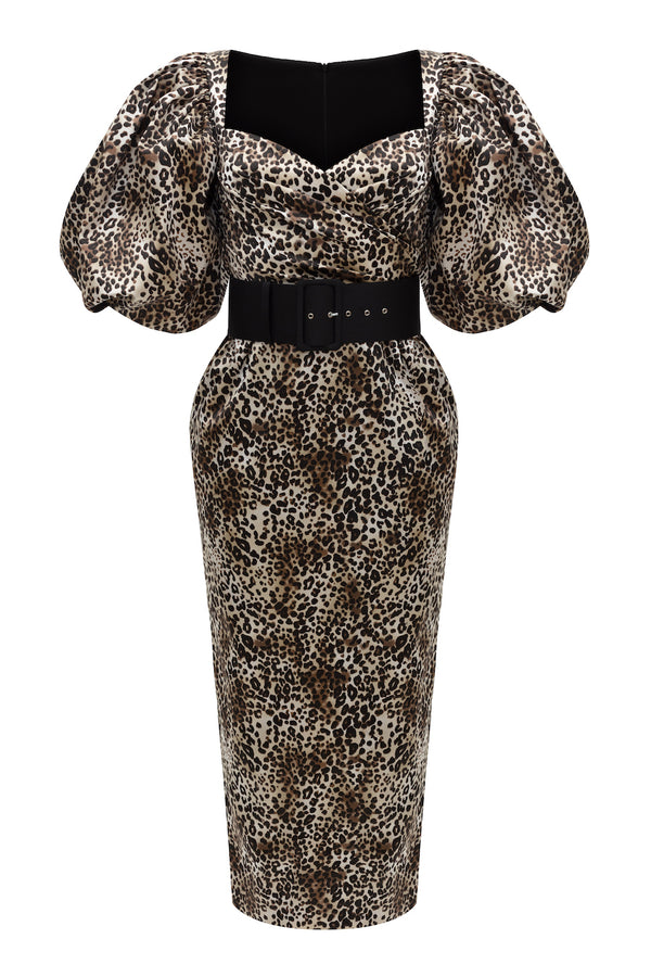 PUFF SLEEVE LEOPARD-PRINT SATIN MIDI DRESS