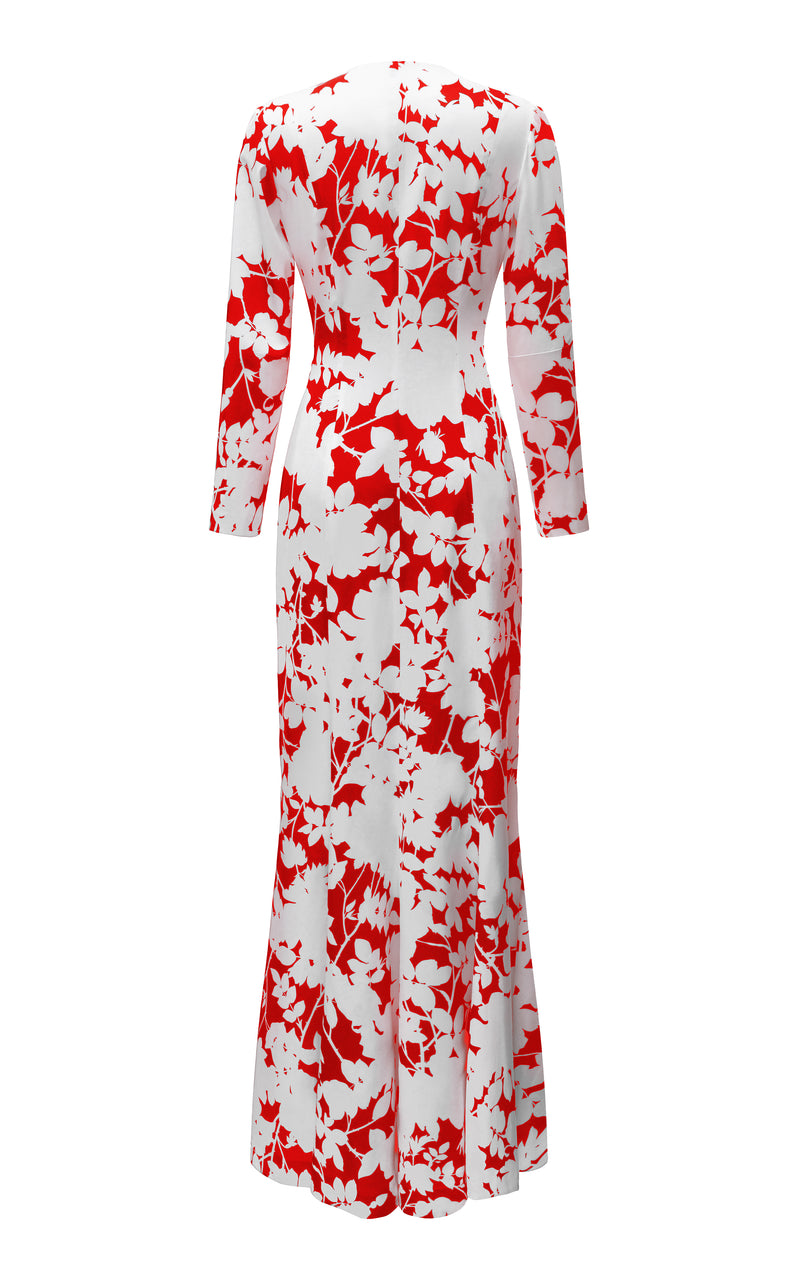 WRAPPED FLORAL-PRINT SATIN MAXI DRESS