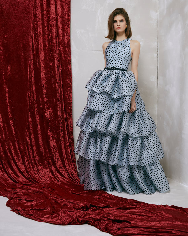 Polka-dot silk organza gown with ruffled voluminous skirt and belt