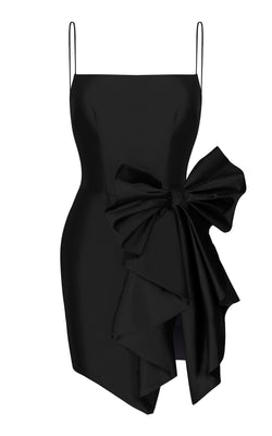 BOW-EMBELLISHED DRAPED SILK MINI DRESS