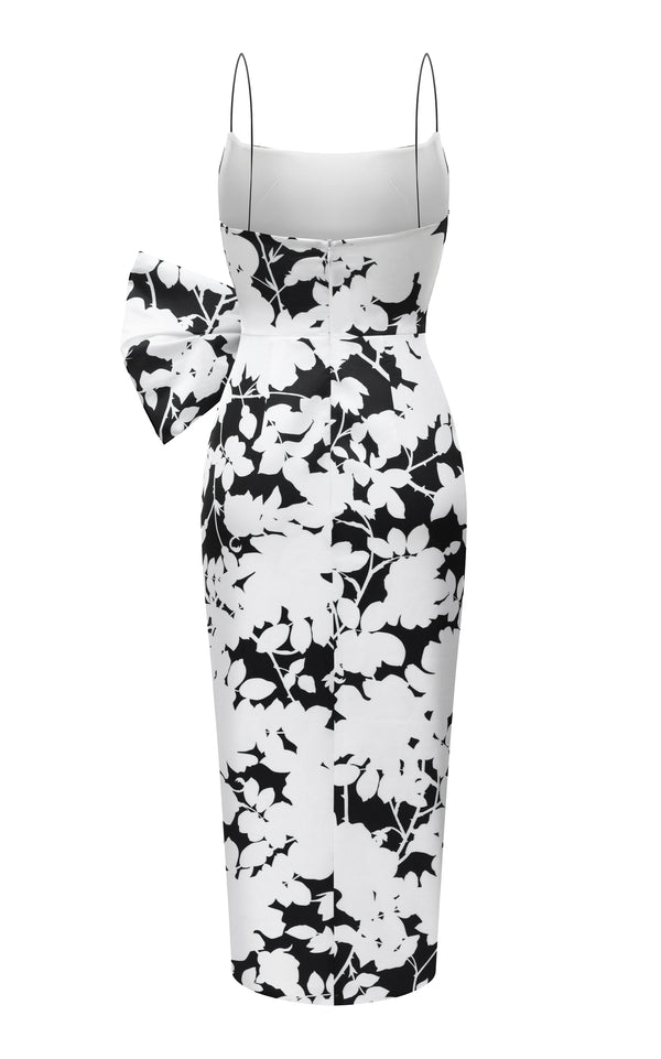 BOW-EMBELLISHED FLORAL-PRINT SATIN MIDI DRESS