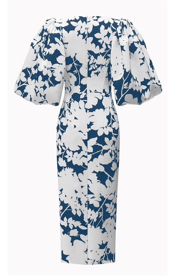 PUFF SLEEVE DRAPED FLORAL-PRINT SATIN MIDI DRESS