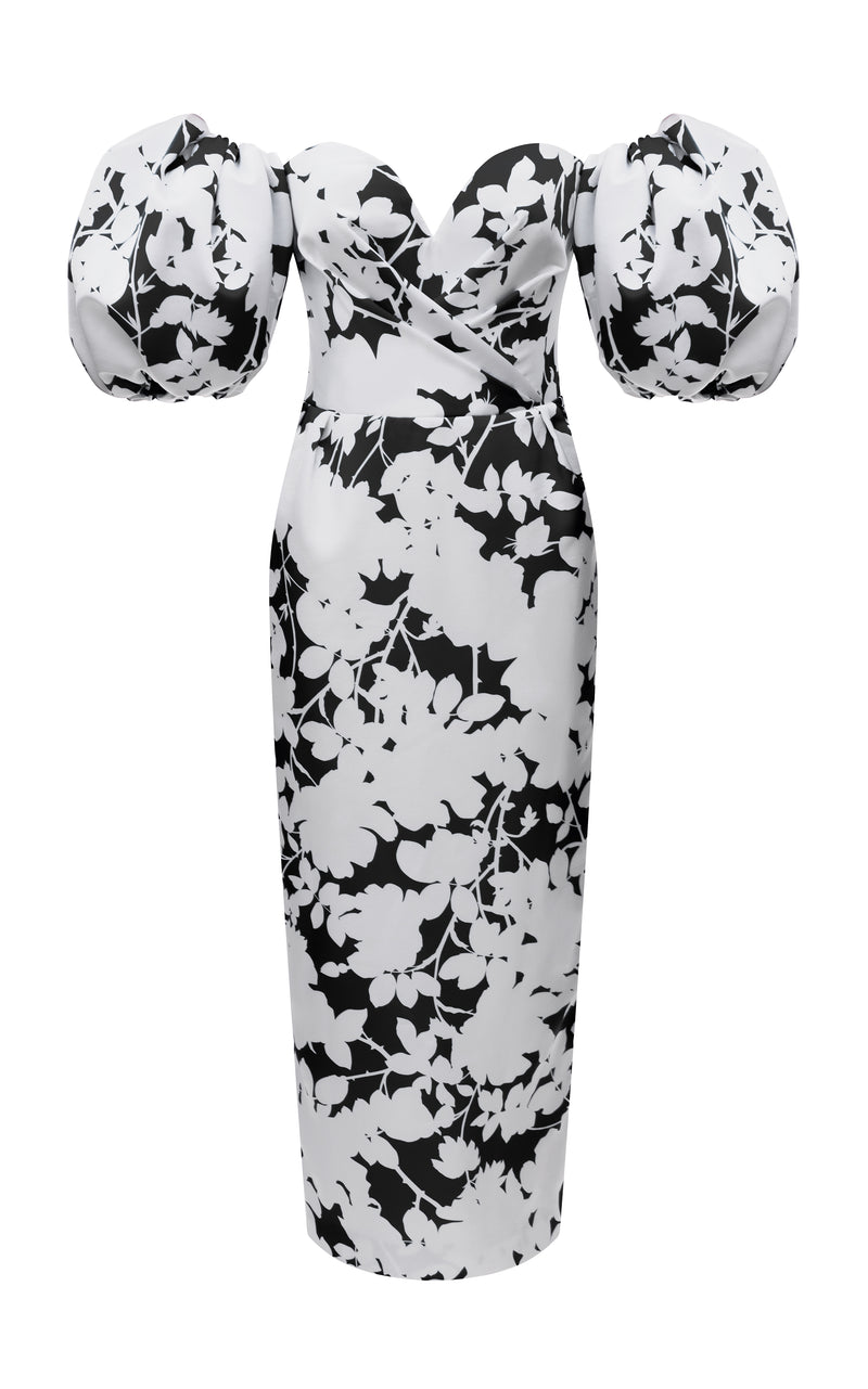 PUFF SLEEVE FLORAL-PRINT SATIN CORSET MIDI DRESS