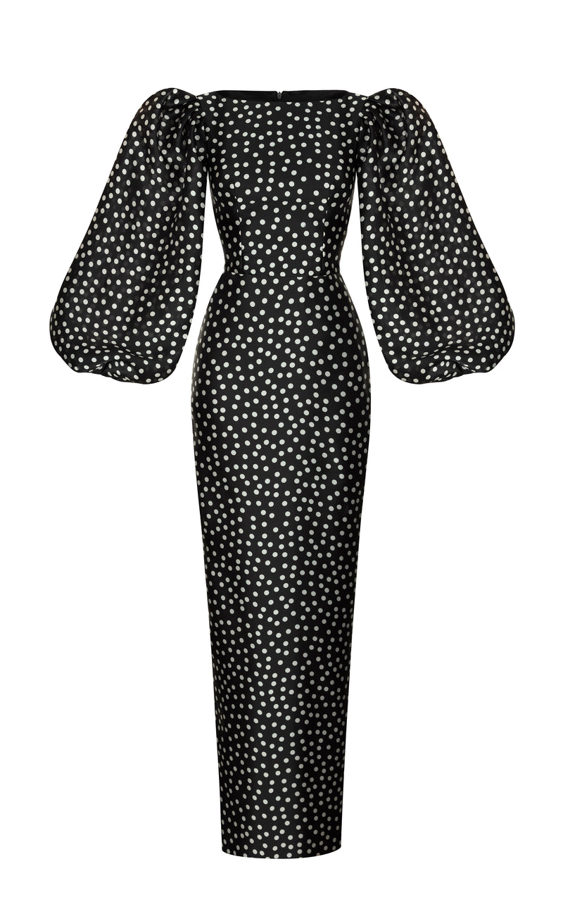 Polka-dot silk organza maxi dress with voluminous sleeves