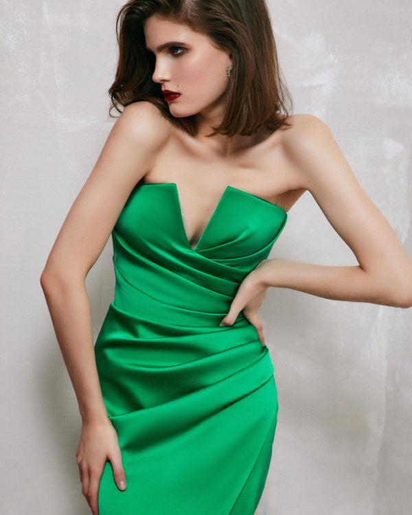 Draped satin corset gown