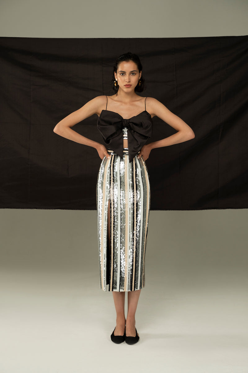 FRONT BOW CROPPED STRIPED SEQUIN AND SILK TOP