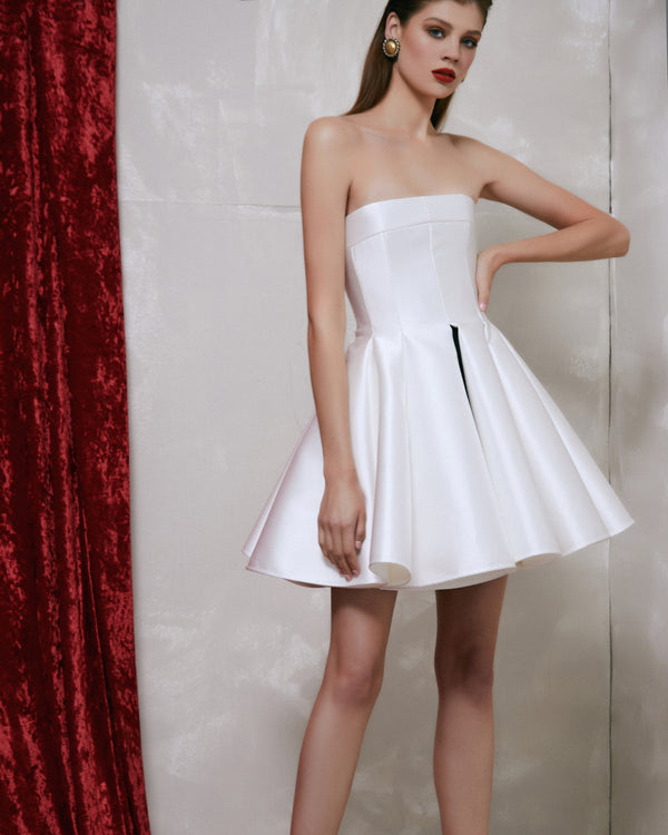 Satin corset mini dress with voluminous skirt