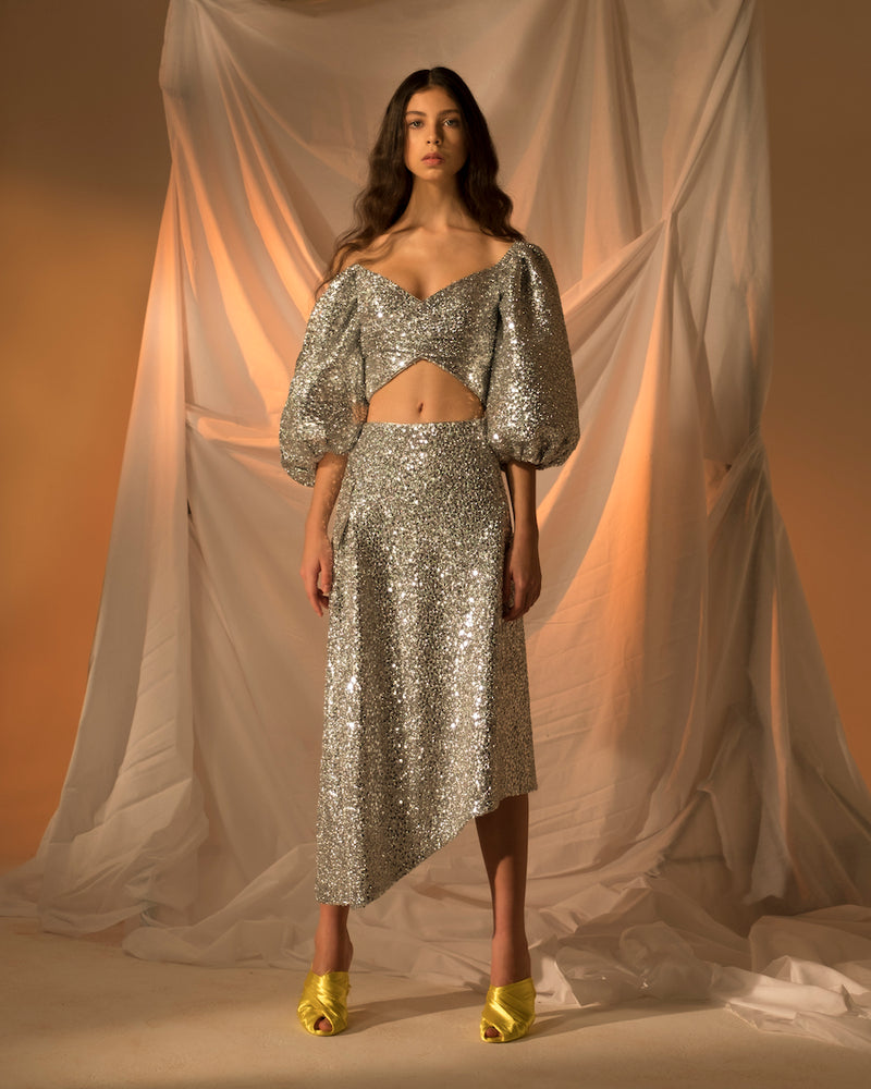 PUFF-SLEEVE WRAP-EFFECT SEQUINED STRETCH-JERSEY CROPPED TOP