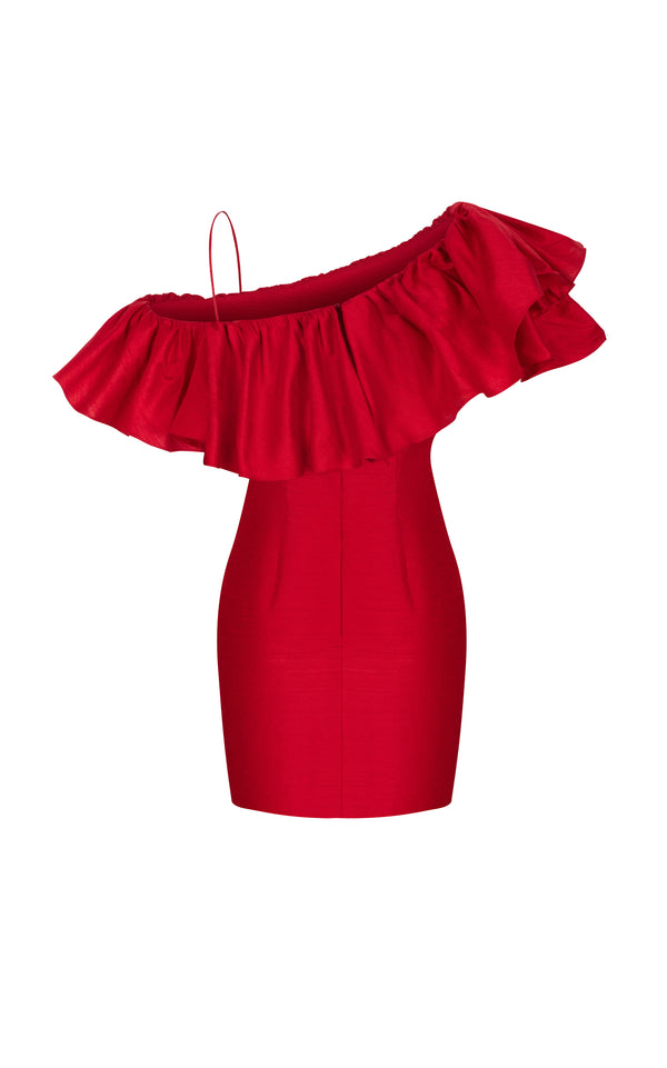 RUFFLED ONE-SHOULDER SILK MINI DRESS