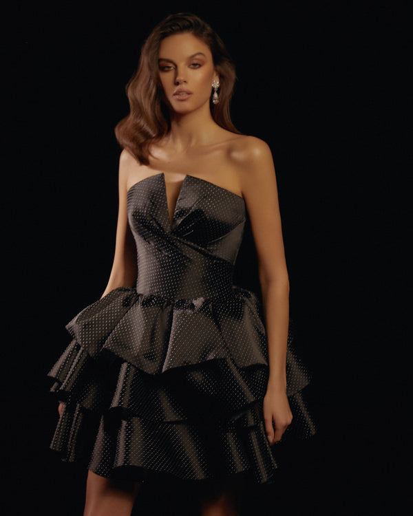 Silk organza draped corset mini dress with ruffled skirt